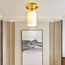 Gold Finish Cylindrical Semi Flush Ceiling Light Glass Simple 1 Bulb Semi-Flush Mount Light for Hall
