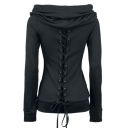 Gothic Funnel Collar Long Sleeve Lace-Up Black Slim Hoodie