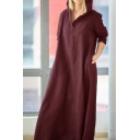 Womens Casual Plus Size Solid Color Cotton Maxi Loose Hooded Dress