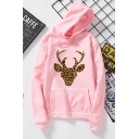 Womens New Arrival Deer Leopard Print Long Sleeve Oversized Thick Hoodie
