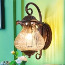 Weathered Copper Lantern Sconce Wall Lighting 1 Head Rustic Pressed Ribbed Glass Wall Sconce for Porch