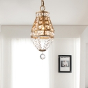 Brass Teardrop Ceiling Pendant Lamp 1 Light Clear Crystal Suspension Light for Corridor