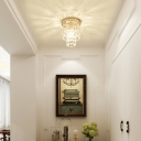 Faceted Crystal 2 Tiers Flush Mount Ceiling Light Contemporary 1 Light Mini Flushmount in Copper