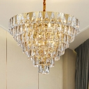 Modern Multi Tiers Chandelier Lamp Clear Crystal Prism Indoor Pendant Light in Gold for Dining Room