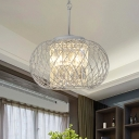 Chrome Wire Cage Hanging Light Modern Metal and Clear Crystal 3 Bulbs Dining Room Chandelier