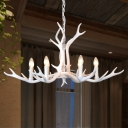 White Antlers Hanging Ceiling Light with Candle Modern Resin 6 Bulbs Restaurant Chandelier Light Fixture