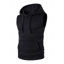 Mens Plain Casual Hooded Tank Top Drawstring Hoodie with Pocket