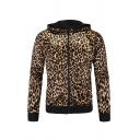 Slimming Leopard Print Long Sleeve Zip Up Pullover Hoodie
