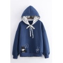 Cartoon Black Cat Fish Embroidery Polka Dot Bow Tied Hood Long Sleeve Casual Hoodie