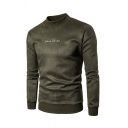 Winter Mens Simple Letter Printed Front Solid Color Long Sleeve Suede Pullover Sweatshirt