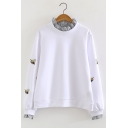 Cute Bee Embroidery Striped Stringy Selvedge Detail Long Sleeve Pullover Sweatshirt