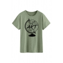 Letter THE EARTH WITHOUT ART Printed Short Sleeve Casual Graphic T-Shirt Top