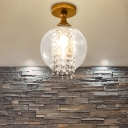 Clear Glass Cylinder/Globe Semi Flush Light with Crystal Strand 1 Light Modern Semi Flush Ceiling Light in Brass