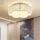 Modern White LED Flush Mount Light Flower/Round Acrylic Ceiling Lamp with Crystal for Bedroom