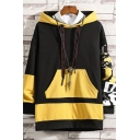Mens Cool Fashion Colorblock Letter BAD DAY AWAY Printed Long Sleeve Casual Loose Hoodie with Pocket