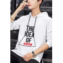Men's Stylish Letter THE IDEA OF Triangle Printed Long Sleeve Casual Drawstring Hoodie