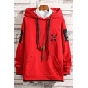 Mens New Fashion Letter ARRIVAL Printed Colorblock Patched Long Sleeve Casual Loose Hoodie