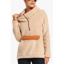 Womens Winter Warm Long Sleeve Pocket Faux Fur Teddy Half-Zip Hoodie