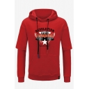 Trendy Star Wings Letter REVOLUTION Printed Fake Two-Piece Long Sleeve Casual Sports Pullover Hoodie for Men