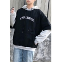 Fashion Letter CHALKBOX Pattern Colorblock Long Sleeve Fake Two-Piece Unisex Oversized Hoodie