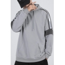 Mens Trendy Letter Printed Contrast Stripe Patched Long Sleeve Casual Sports Drawstring Hoodie
