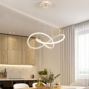 Spiral Hanging Ceiling Light Minimalist Metal Led Pendant Lighting in Brown/White