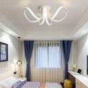 Petal Flush Mount Ceiling Light Contemporary Led Metal Bedroom Flushmount in White
