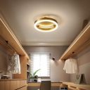 Brushed Brass Flush Lighting Modernism Metal Led Ceiling Flush Mount Light for Foyer