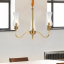 Metal 3 Arm Chandelier Lighting Vintage Rustic Hanging Pendant Light with Clear Glass Shade
