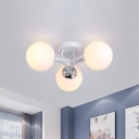 Spherical Semi Flush Lamp Modern Frosted Glass 3/5/9 Lights Semi Flushmount Lighting in Black/White
