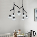 Branch Island Lighting for Dining Room Modern Metal Black Ceiling Pendant with Clear Glass Shade