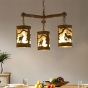 Rustic Cylinder Chandelier Lamp with Deer Pattern 3/6/9 Lights Metal Rust Pendant Lighting for Restaurant