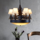 Rustic Bowl Hanging Light with Cone Fabric Shade 8 Lights Opal Glass Chandelier Light in Black