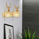 Restaurant Orb Wall Light with Deer Head Metal and Crystal 1/2 Lights Modern Chrome/Gold Sconce Light
