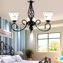 3/5/6/8 Lights Floral Chandelier Lighting Traditional White Glass Bedroom Pendant Light in Black