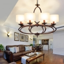 White Drum Chandelier Light Industrial 6/8 Lights Fabric Ceiling Hanging Lamp in Copper