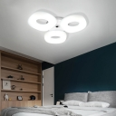 Contemporary White Flush Ceiling Light Circle 3/4 Heads LED Ceiling Fixture for Living Room Bedroom