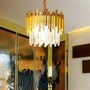 Silver/Gold Round Pendant Lamp Metal and Clear Crystal 6 Bulbs Bedroom Suspension Lamp with Hanging Chain