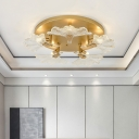 5 Lights Leaf Semi Flush Lamp Clear Ribbed Glass Village Style Semi Flushmount Lighting in Brass