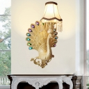 1 Light Peacock Wall Light with Scallop Bell Lampshade Loft Resin Sconce Lighting in Gold