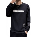 Popular Number Printed Front Round Neck Long Sleeve Leisure Pullover Sweatshirt