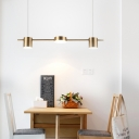 3/5 Lights Linear Chandelier with Drum Metal Shade Post Modern Hanging Ceiling Light in Black/Gold, Warm/White Light