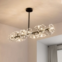Linear Hanging Ceiling Light with Metal Flower and Crystal Accents Modern 16 Lights Island Light in Black/Gold