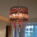 Vintage Drum Suspension Lamp with Triangle Crystal Prisms 3 Lights Living Room Pendant Light in Copper