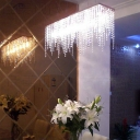 Contemporary Icicle Pendant Light Clear Crystal 8 Lights Linear Hanging Ceiling Light in Chrome
