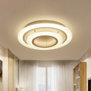 2/3/4/5 Lights Tiered Ring Semi Flush Lamp Nordic Style Acrylic Led White Flush Ceiling Light in Warm/White