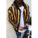 Classic Mens Vertical Stripes Patchwork Zip Up Fleece Hoodie with Pocket