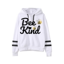 Hot Letter BEE KIND Cute Pattern Print Long Sleeve White Graphic Hoodie