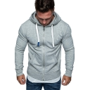 Fashion Plain Drawstring Hood Long Sleeve Zipper Fitted Hoodie with Pocket