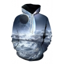 3D Sky Clouds  Printed Long Sleeve Loose Relaxed Drawstring Hoodie